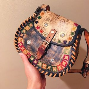 Handcrafted Mexican tooled leather satchel